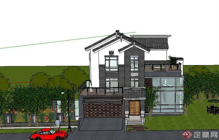 某新中式独栋别墅建筑设计su模型1
