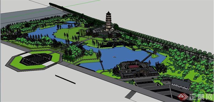 某滨水公园景观设计su模型1(1)