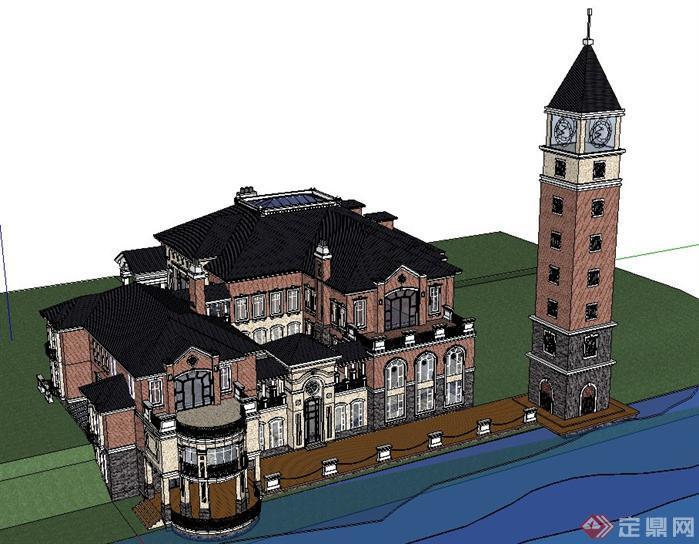 某歐式豪華別墅建筑設計su模型1