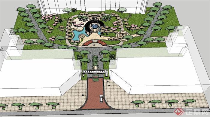 某住宅区入口广场景观设计su模型