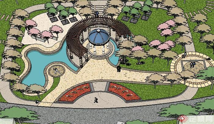 某住宅区入口广场景观设计su模型(1)