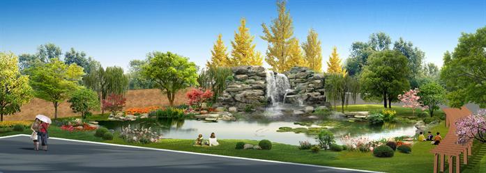 某厂区池塘景观设计效果图[原创]