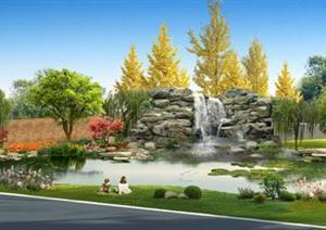 某厂区池塘景观设计效果图