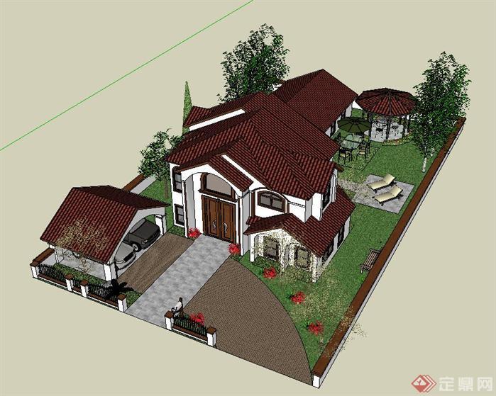 某欧式别墅建筑设计su精致模型