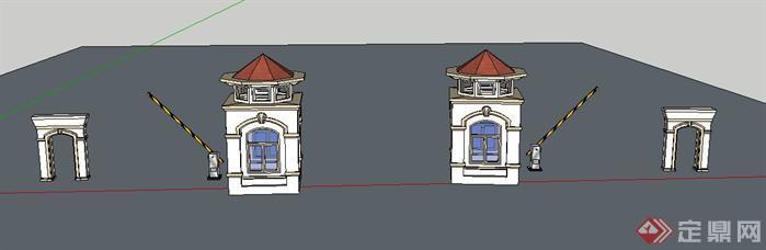 > 某欧式大门景观设计su模型,一个门卫亭加一个栏杆的设计,模型做得图片