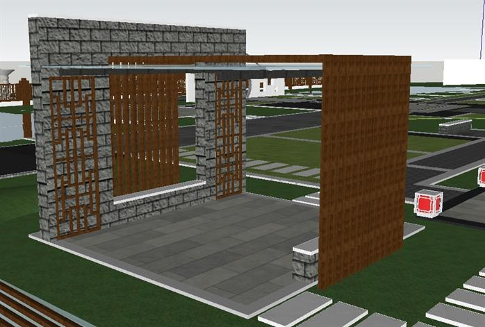 某新中式小区景观设计SU模型[原创]