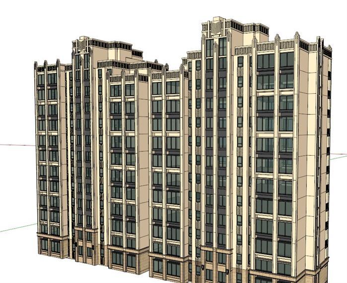 某现代风格高层居住小区建筑方案设计(含su模型素材)