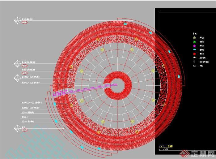 某圆形广场景观设计铺装施工图1