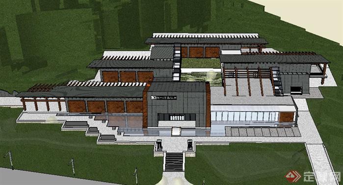 某新中式博物馆建筑设计su模型1