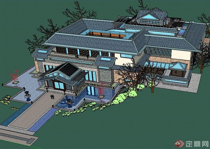 某现代中式博物馆建筑设计su模型