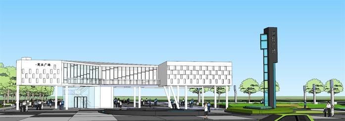 某现代售楼部建筑设计及景观设计方案su模型[原创]