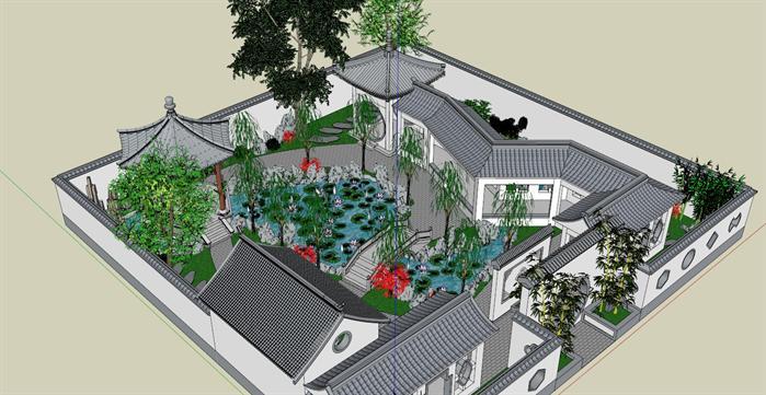 某古典小游园景观设计方案su模型[原创]