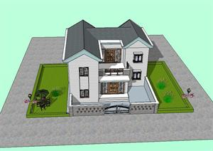 某别墅建筑设计SU(草图大师)模型(课程作业)