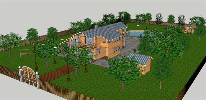 某住宅建筑及庭院景观设计su模型[原创]
