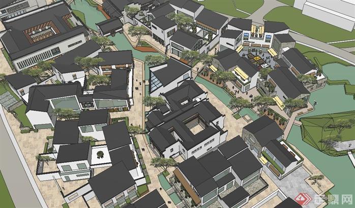 某大型新中式商业街建筑规划设计su模型(1)图片