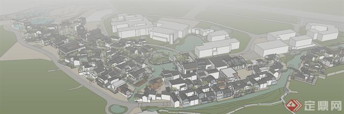 某大型新中式商业街建筑规划设计su模型