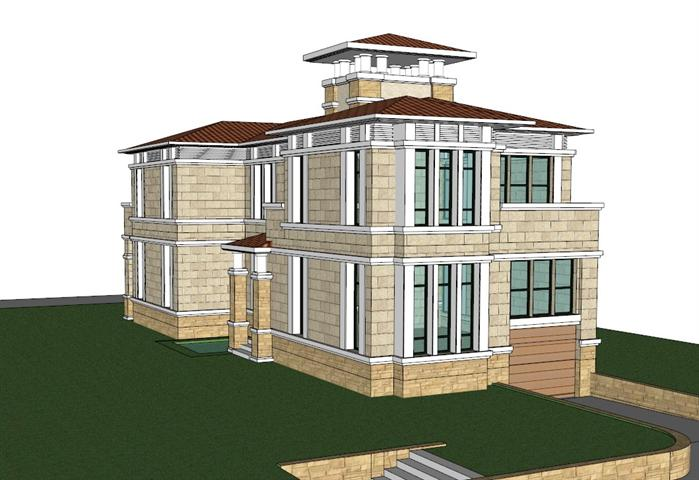 某欧式风格别墅建筑设计su模型素材[原创]