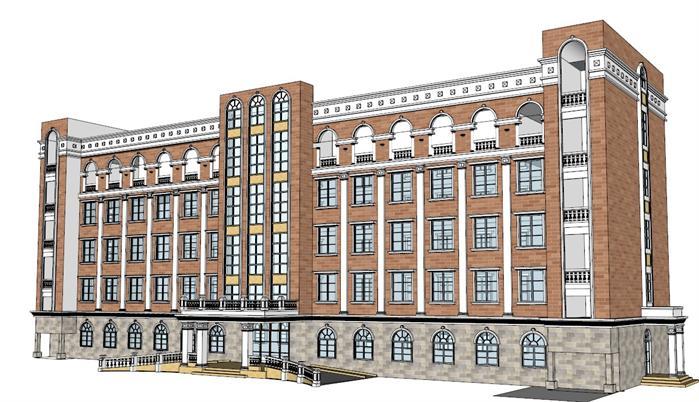 某欧式风格多层办公楼建筑设计su模型素材[原创]图片