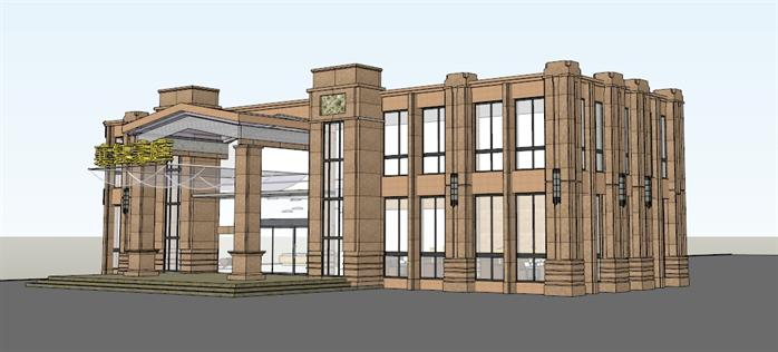 某现代欧式风格商业售楼部建筑设计su模型素材[原创]