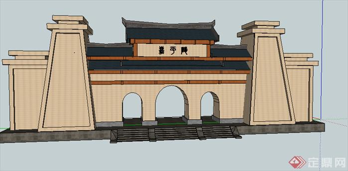 某古典中式风格园林景观大门设计su模型素材4(2)