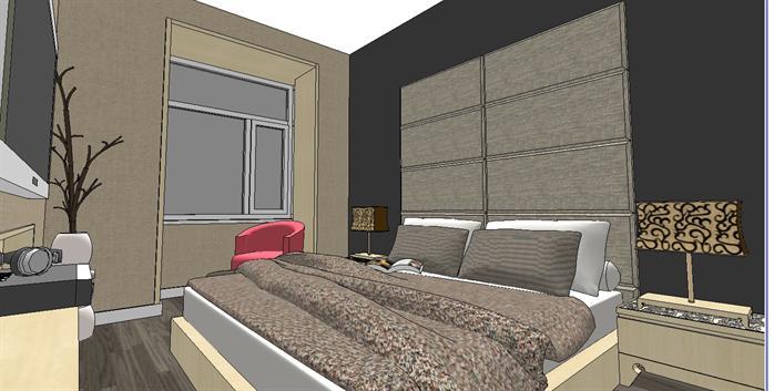 某现代风格两房一厅户型室内设计方案su模型