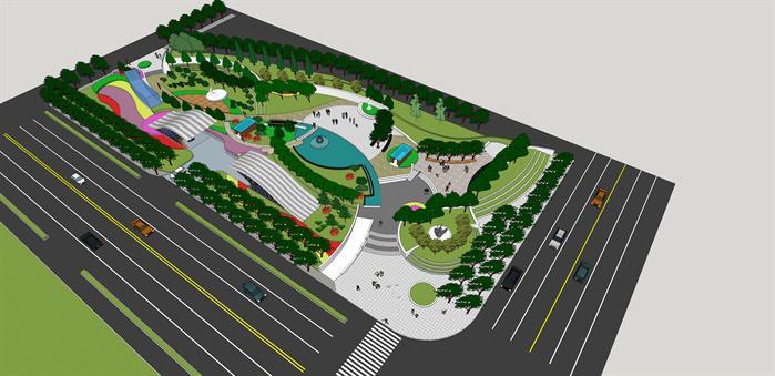 某现代风格广场绿地景观规划设计su模型素材[原创]
