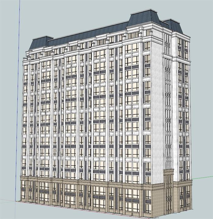 某现代欧式风格高层住宅楼建筑设计su模型素材[原创]