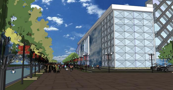 某现代中式风格商业建筑规划设计su模型素材