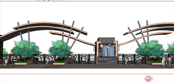 某现代风格园林景观大门设计su模型素材20(2)