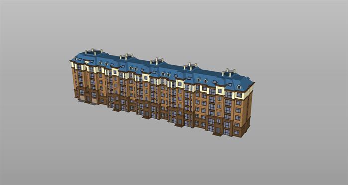 某现代欧式风格住宅楼建筑设计su模型素材[原创]