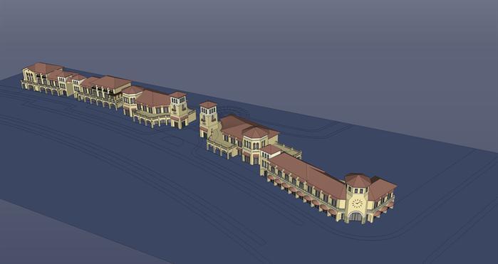某现代欧式风格商业建筑设计su模型素材2