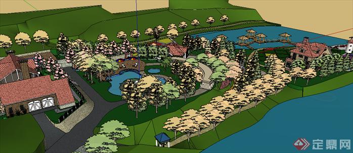某现代风格滨水公园景观规划设计su模型素材3