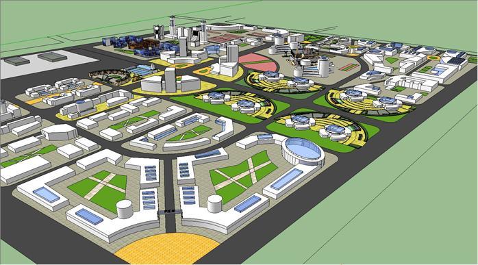 某现代风格工业厂区景观规划设计su模型素材