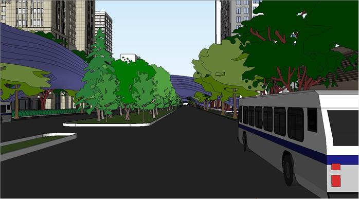 某现代风格商业街区街道景观规划设su模型素材