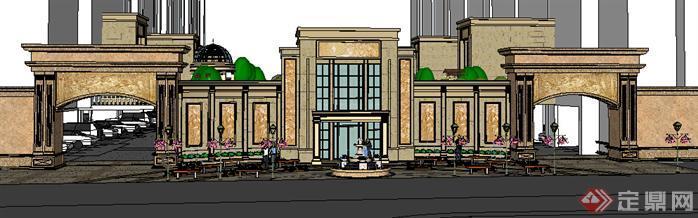 某小区欧式大门设计方案su模型