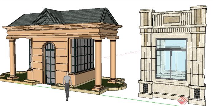 某现代风格园林景观大门设计su模型素材51(2)