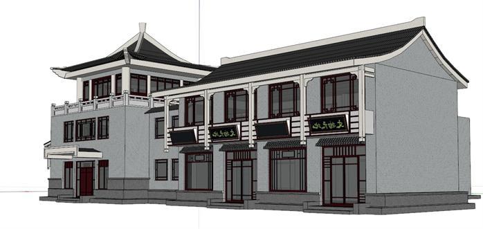 某古典中式风格酒楼餐饮建筑设计su模型素材2[原创]图片