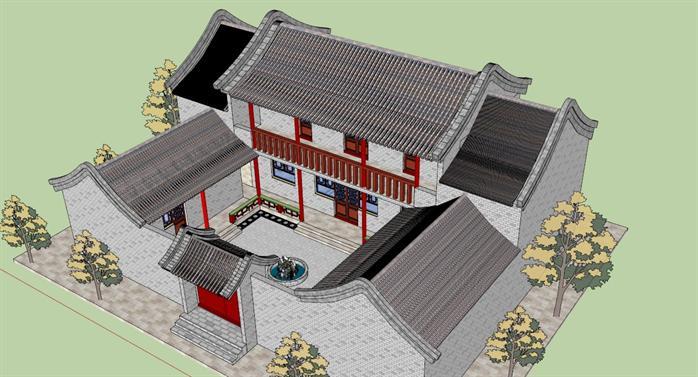 某古典中式四合院建筑设计方案su模型1(1)