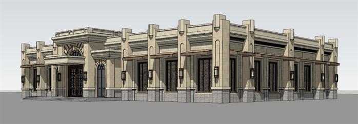 某现代欧式风格商业售楼部建筑设计su模型素材3[原创]
