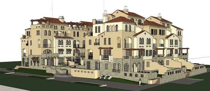 某欧式地中海风格别墅区建筑设计SU模型素材图片