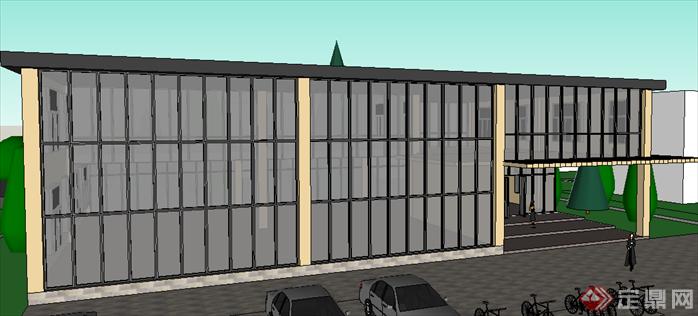 某现代风格商业售楼部商业建筑设计su模型素材(2)