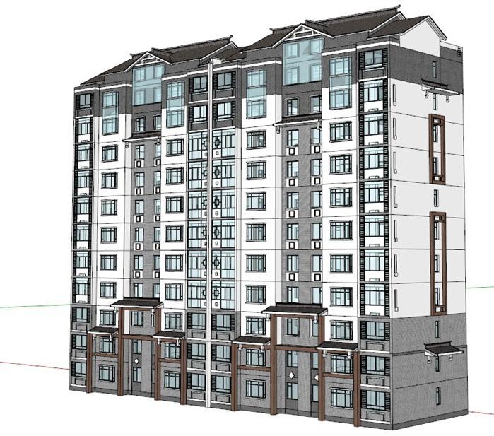 某现代中式小高层住宅建筑设计方案su模型 1