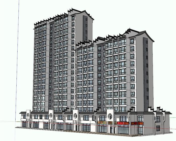 某现代中式高层住宅及临街商业街建筑设计方案su模型