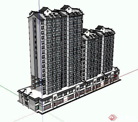 某现代中式高层住宅及临街商业街建筑设计方案su模型 2