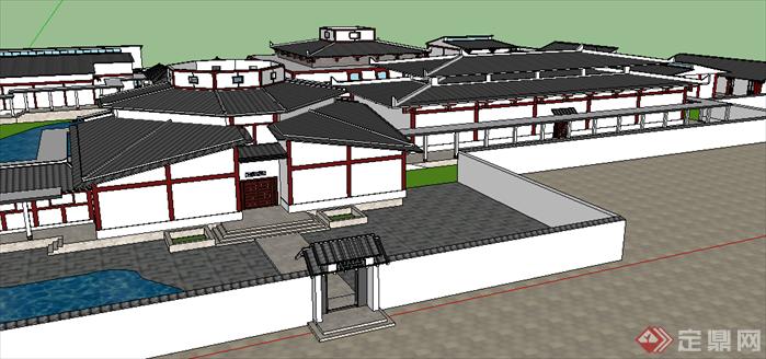 某现代中式风格博物馆建筑设计SU模型素材10,该模型设计的还是比较细致的,模型场景还是比较大的,方案设计的还是比较细致的,风格简约,设计内容也比较丰富,供广大景观设计,建筑方案设计人员。园林设计人员参考用途.也可以用于同类设计规划项目参考用途。