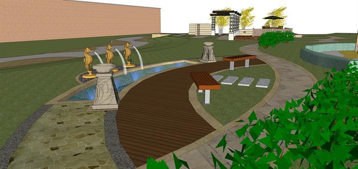 某现代风格园林小广场景观设计su模型素材[原创]