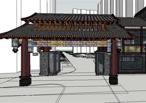 某古典中式风格园林景观大门设计su(草图大师)模型图片