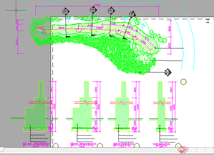 某现代风格园林景观景墙扩初图设计cad图纸4