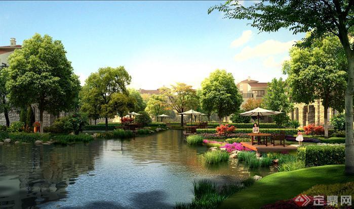 园林景观之滨湖庭院湖面效果图(psd效果图)