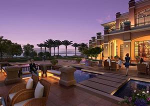 某东南亚热带风格滨海酒店景观效果图PSD格式